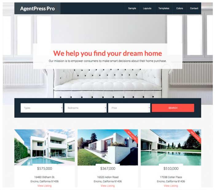 Página de inicio del tema donde se pueden seleccionar viviendas por categorías.