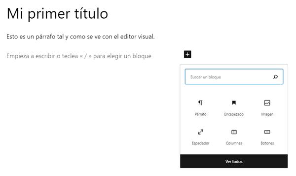 Se ve la ventana que se abre al hacer clic sobre el icono Añadir bloque. Dentro de la ventana hay una barra de búsqueda, iconos de bloques y el botón Ver todos.