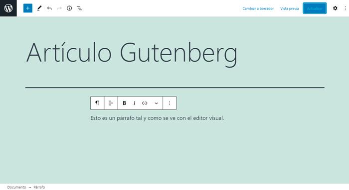 Área de contenidos del editor con un título, un párrafo y la barra de herramientas del párrafo.
