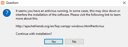 Aviso sobre antivirus durante la instalación de XAMPP