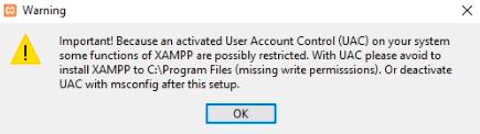 Aviso sobre el User Account Control (UAC) durante la instalación de XAMPP