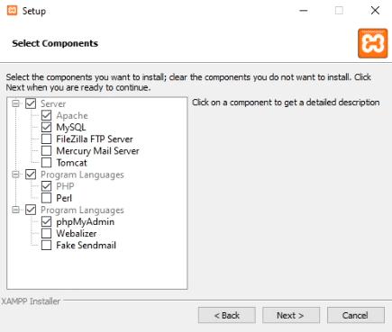 Selección de los componentes de XAMPP
