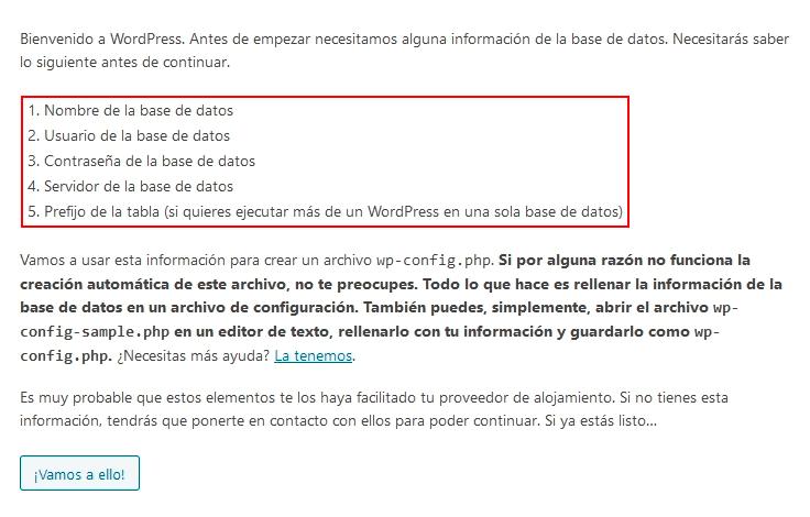 Proceso de configuración automática de WordPress
