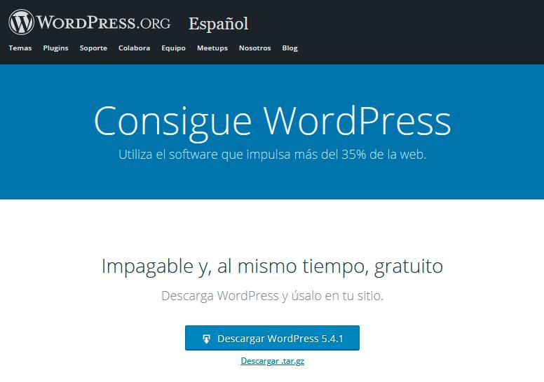 Página web para descargar WordPress