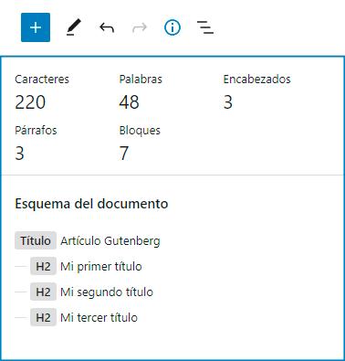 Estadísticas (número de caracteres, palabras, encabezados, párrafos y bloques) y esquema del documento.