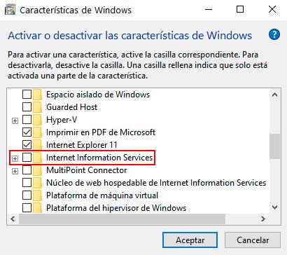 Desactivación de Internet Information Services (IIS) en Windows