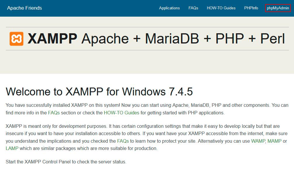 Página web XAMPP del localhost