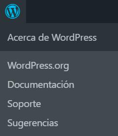 Menú Acerca de WordPress donde se ven sus enlaces.