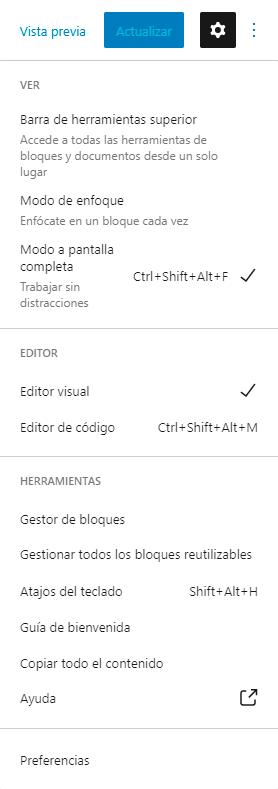 Se ve el menú con todas las opciones del editor. Las opciones Modo pantalla completa y Editor visual están activadas.