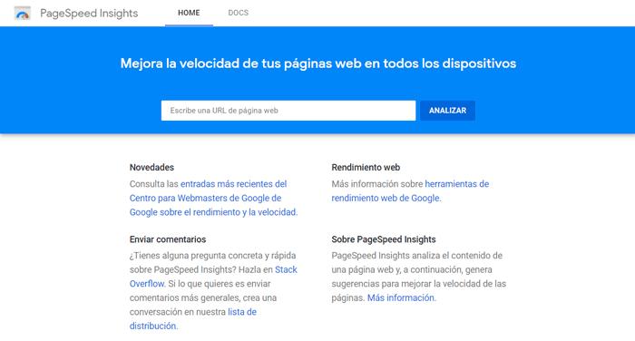 Se ve la página de PageSpeed Insights donde se puede introducir la URL de una página web para analizarla.