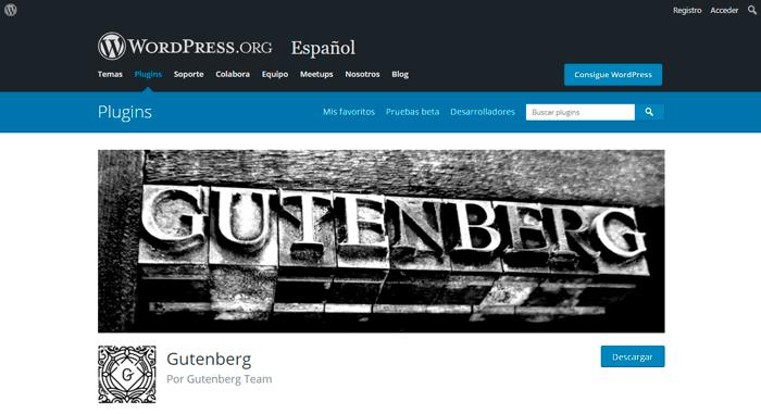 Captura de pantalla de la página web del plugin de Gutenberg.