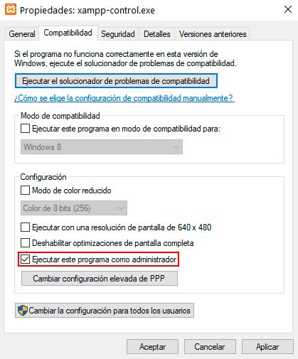 Cambio de permisos del panel de control de XAMPP