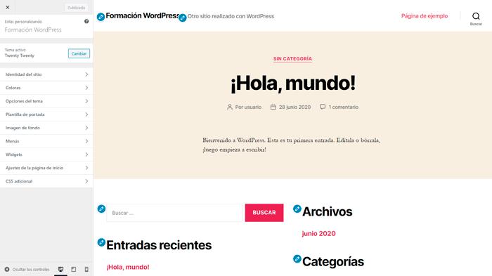 Se puede ver el personalizador de WordPress con el menú de configuración y la previsualización de los cambios.