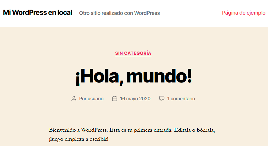 Sitio web WordPress local