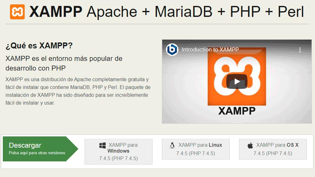 Página web para descargar XAMPP